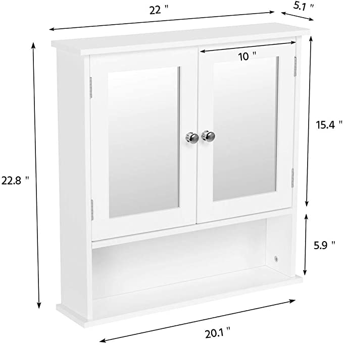 Amazon Com Yaheetech Medicine Cabinet With Double Mirror Doors Bathroom Wall Mount Cabinet With Shelf Wooden Storage Cabinets Organizer For Living Room Home Kitchen Furniture Kitchen Dining
