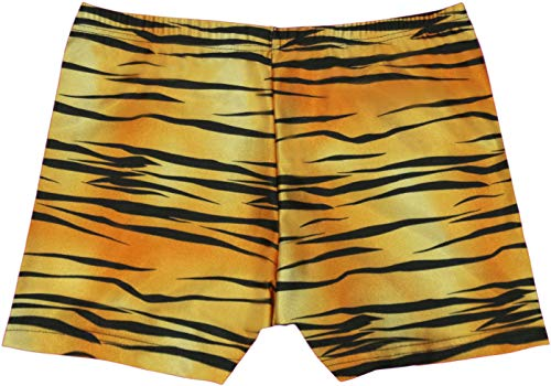 grUVywear Girls UV Sun Protective Boy Cut Stretch Swim Short Bottoms UPF 50+ (S 5-6, Tiger (Tiger Print Shorts)
