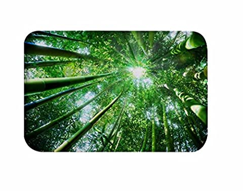 A.Monamour Sunshine Through Green Bamboo Trees Forest Nature Scenery Picture Print Soft Absorbent Flannel Anti-Skid Rubber Backing Bath Rugs Doormats Floor Carpets For Kitchen 40x60cm / - Shine Flannel