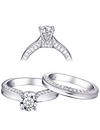 Newshe 1.6ct White AAA Cz Sterling Silver Wedding Sets Engagement Ring for Women Size 5-10