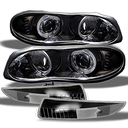 For Chevy Camaro 2 Door Z28 Coupe Black Halo Projector LED Headlights + Black Bumper Signal Lamps
