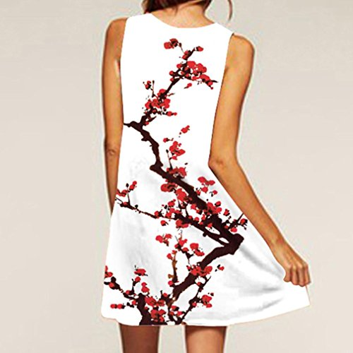 NREALY Women's Vintage Boho Summer Sleeveless Beach Printed Short Mini Dress Vestido(S, c_White) by NREALY (Image #2)