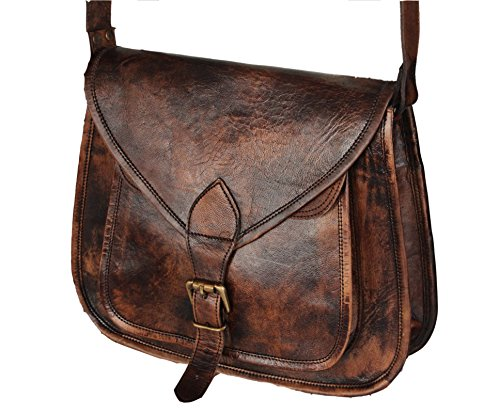 VINTAGE COUTURE Women Vintage Style Genuine Brown Leather Cross Body Shoulder Bag Handmade Purse