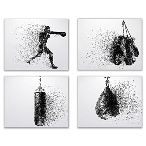 Summit Designs Boxing Wall Art Prints - Silhouette - Set of 4 (8x10) Poster Photos - Bedroom - Man Cave