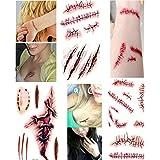 Kredy® NEW 3 Sheets Red Horror Realistic Bloody Injury Wound Scar Pattern Removable Waterproof Temporary Tattoos Body Art Sticker for Halloween Women Girls Teengirls Kids Men Adults Teens