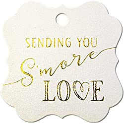 Summer-Ray 50pcs Gold Foil Hot Stamping Sending You S'More Love Wedding Favor Gift Tags (Shimmered White, Square)