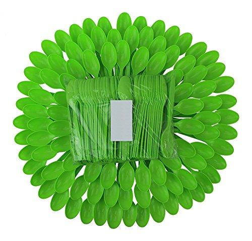 Green Plastic Spoons - 5