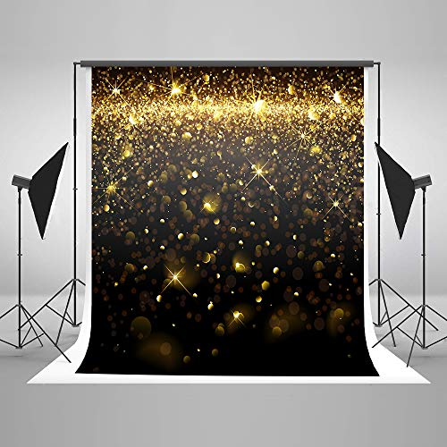 5ft(W) x7ft(H) Black Gold Photo Backdrops Sparkles Shine Dots Photography Backdrops Golden Black Twinkle Dots for Birthday,Wedding,Photography Seamless Props