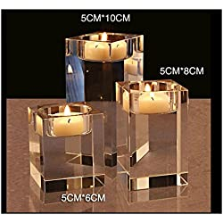 Cosy-Yc Crystal Tealight Holders, Square Candle Holder Set, K9 Candelabra Centerpiece Home Deco/Party/Wedding Decorations Housewarming Bar Party (2.4+3.1+3.9 inches)