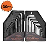 30Pcs Allen Wrench Set, Tacklife Hex Key Set with 15Pcs Black-Oxide Finish 0.028'-3/8' Long arms, 15Pcs Matte Finish 0.7-10mm Short arms, Allen Key Set - HHW1A