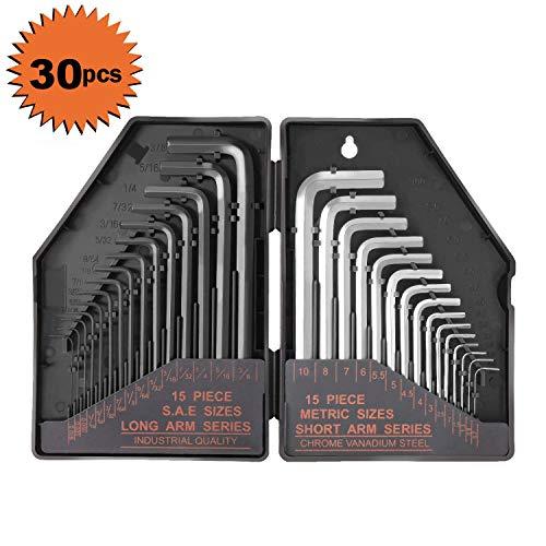 Tacklife Allen Wrench Set, 30Pcs Hex Key Set, 15Pcs Inch Black Long Arm 0.028