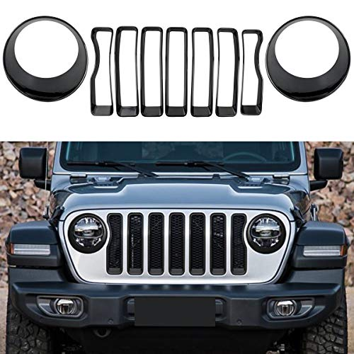 XBEEK Headlight and Front Grille Inserts Trim Cover for 2018 2019 Jeep Wrangler JL Sport/Sports