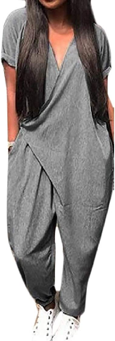 Pandapang Women Summer Short Sleeve V Neck Bodysuit Solid Color Jumpsuit