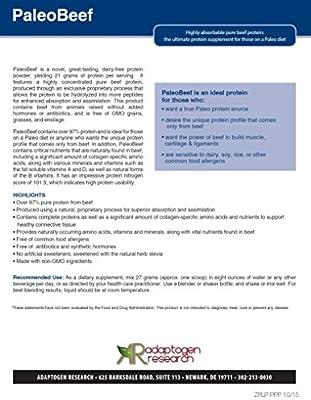 Adaptogen Research Paleo Beef Protein Powder | Vanilla Pure Grass-Fed Beef Collagen Peptides | 21Grams HydroBEEF Protein with Collagen | 30 Serving 810 Grams (1.8 LBS)