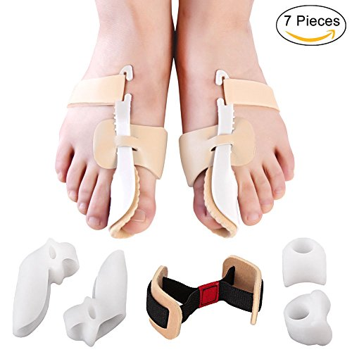 Bunion Corrector and Bunion Relief Protector Splint Kit for Hallux Valgus Relief, Adjustable Bunion Splint Set Night Time Soft Gel for Big Toes Joint, Toe Spacers, Toe Separators, Toe Straightener