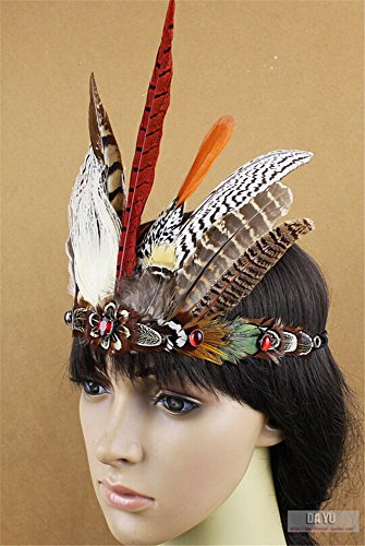 Scary Cown (Pavian Indian tribal chiefs exaggerated feather headdress for halloween party cosplay costume)