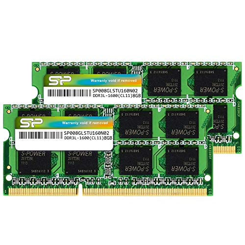 Silicon Power Hynix IC 16GB (2 x 8GB) Compatible for Apple DDR3L RAM 1600MHz (PC3 12800) 204 pin CL11 1.35V Non ECC Unbuffered SODIMM Laptop Memory Module - Low Voltage