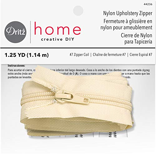Dritz Home 44236 Nylon Upholstery Zipper, 45-Inch, Cream