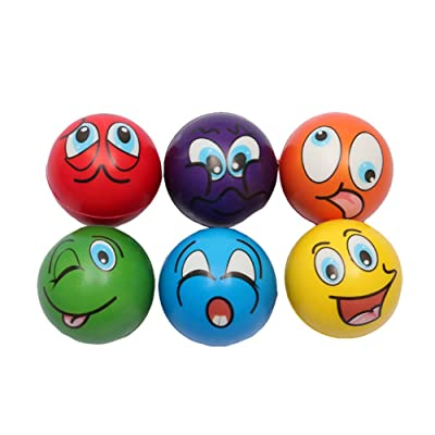 Brave669 Stress Relief Toys & 6Pcs Foam Anti Stress Balls Cartoon Smiley Face Squeeze Pressure Relief Toys,Perfect for Adults Children to Relief Anxiety: Toys & Games