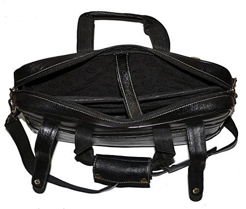 auténtica 422 negro maletín bolso portátil de piel laveri Messenger bandolera cruzado Fdzx4FBn