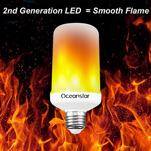 Simulated Flame LED Light Bulb - 2nd Generation Smooth Flame Effect / No Glowing Dots - by Oceanstar Party Supplies - Plus $5 Credit When you Leave a Review!