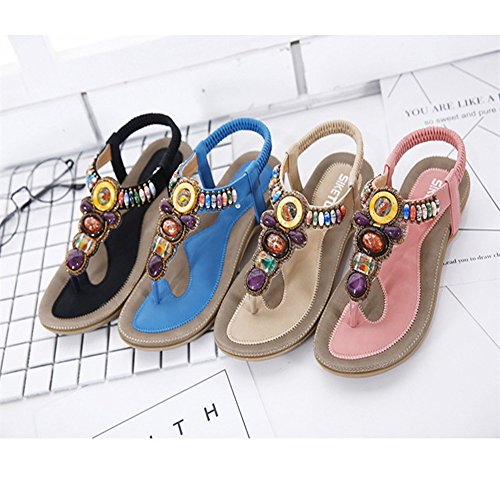Bohemia Etnicas Planas Sandalias Retro Elegantes Con Cuentas Dedo del Pie Del Clip Zapatos Verano Boho Chic Zapatillas Mujer Rosa