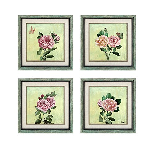 Dzhan Oil Paintings Canvas Prints Framed Green Art Set of 4 Panel Butterfly Flower Stretched with Hooks to Hang Wall Art for Living Room Hotel Home (Wood Framed Print Set)
