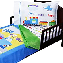 3pc RoomCraft Cars Planes and Trains Toddler Bedding Set Transportation Blanket Sheet and Pillowcase Set