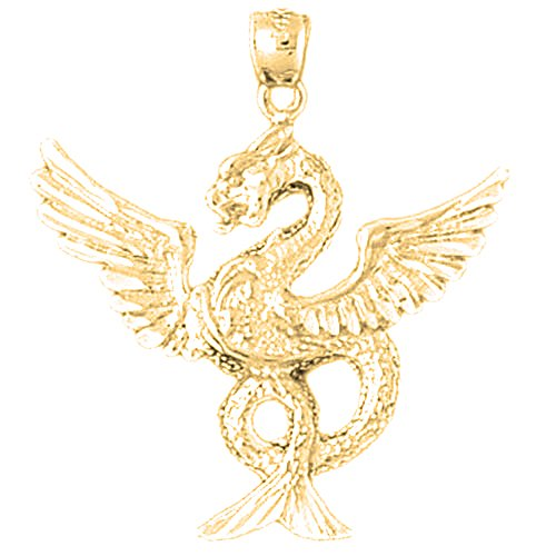 (Jewels Obsession Dragon Pendant | 10K Yellow Gold Dragon Pendant - 33 mm)