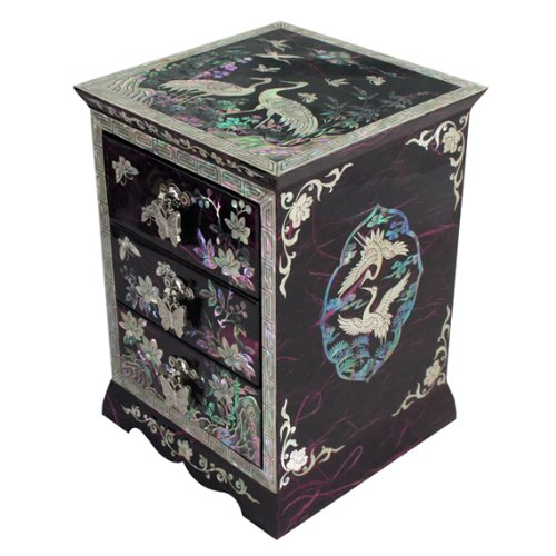 - Mother of Pearl Black Asian Lacquer Women Wooden Jewellery Trinket Keepsake Treasure Gift Girls Ring Necklace Box Chest Case Storage Organizer with Flower and Crane Design