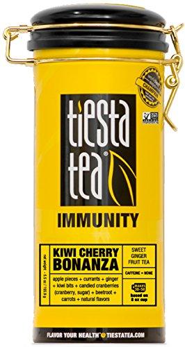 Sweet Ginger Fruit Tea | KIWI CHERRY BONANZA 5.5 Ounce Tin by TIESTA TEA | Caffeine Free | Loose Leaf Herbal Tea Immunity Blend | (30 Cherry Tea)