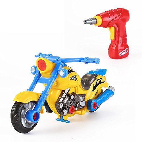 Take Apart Toy Racing Motorcycle Kit for Kids with Electric Drill and Power Tools, More than 20 Parts