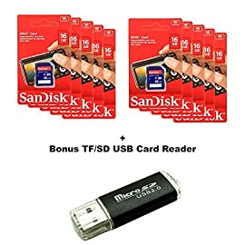 Lot of 10 SanDisk 16GB SD SDHC Class 4 Flash Memory Camera Card SDSDB-016G-B35 Pack + SD/TF USB Card Reader 99 In Retail Packaging, perfect for resale SD cards are fully compatible with all SD-compliant devices Video rating of class 4 (720p) for HD video for 8 GB - 64 GB capacities
