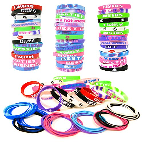 (144 Bracelets Party Favors for Kids, Girls - Bulk Silicone Wristbands and Silicone Latex Free Jelly Bracelets - Great as Easter Basket Stuffers, Piñatas, Birthday Parties, Goodie Grab Bags,Teach Classroom Prizes, Giveaways)