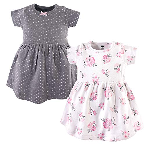 Hudson Baby Baby Girls Cotton Dress, Pink/Gray Floral 2 Pack, 3-6 Months (6M)