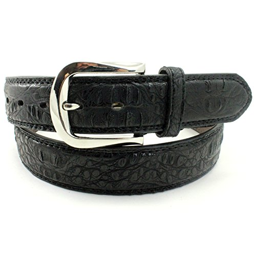 Enimay Men's Crocodile Patterned Bonded Leather Casual Dress Belt Embossed Texture B813 Black Large