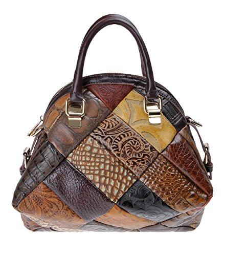 ZLYC Bolso de cuero de tipo de cáscara hecho a mano, bolso de hombro de cuerpo cruzado para mujeres marrón