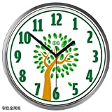 Imoerjia Art Wall Clock Wall Table Green Tree Garden Children's Solid Wood Living Room Bedroom Creative Mute Quartz Clock, 12 Inch, Silver Metal Box