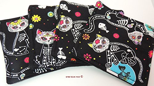 Sugar Skull Skeleton Cats handmade Drink Coasters set of 4 R-S-4 Kitties, cats, Day of the Dead, Dia De Muertos, Cinco de Mayo