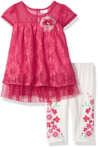 Nannette Toddler Girls' 2 Piece Floral Lace Capri Set, Pinkd, 4T