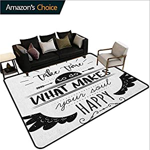 Tribal Plaid Area Rug, Monochrome Do What Makes Your Soul Happy Quote with Wing Arrow Motifs, Durable Carpet Area Rug - Living Dinning Room Bedroom Rugs and Carpets(2.5'x 9') Black and White