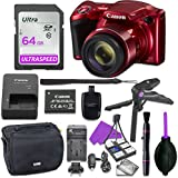 Canon Powershot SX420 Point & Shoot Digital Camera Bundle w/Tripod Hand Grip, 64GB SD Memory, Case and More (Red)