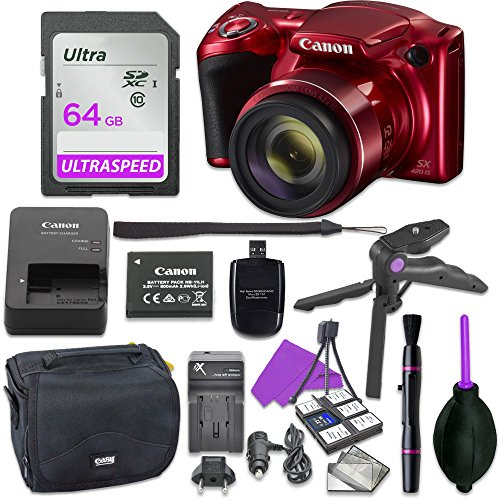 Canon Powershot SX420 Point & Shoot Digital Camera Bundle w/ Tripod Hand Grip , 64GB SD Memory , Case and More (Red) by Canon