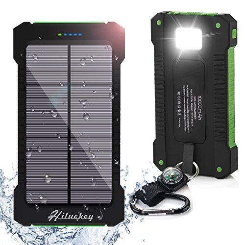 Solar Ladegert 10000mAh Hiluckey Power Bank Tragbar Dual USB Externer Akku Backup Batterie mit LED Taschenlampe für iPhone, iPad, Android-Handy, Tablet, Kamera usw. wasserdicht,sto?fest und, staubdicht