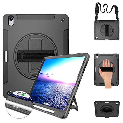Miesherk iPad Pro 12.9 Case 2018 Heavy Duty Case with Stand+Hand Strap+Shoulder Strap+Pencil Holder Support Pencil Wireless Charging for iPad Pro 12.9 Inch 2018 Release (3rd Gen) Black