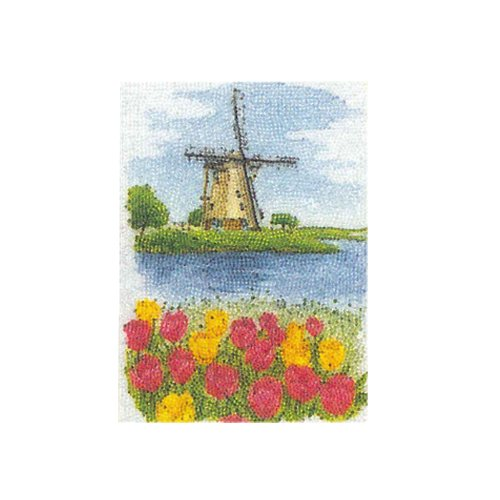 "Hamanaka adult hand work ""bead painting"" starter kit [M] / Dutch windmill, stained glass type"
