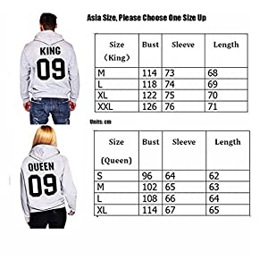 Coutgo Woman's Fashion KING/QUEEN 09 Lovers Pullover Couple Hoodies Sweatshirt(M,King-gray)
