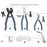 Professional Five Piece Mosaic tile and Stained Glass tool set with Carbide Mosaic Cutter, Running Pliers, Breaking and Grozer Pliers, Pistol Grip Cutter and FREE BONUS Safety Glasses