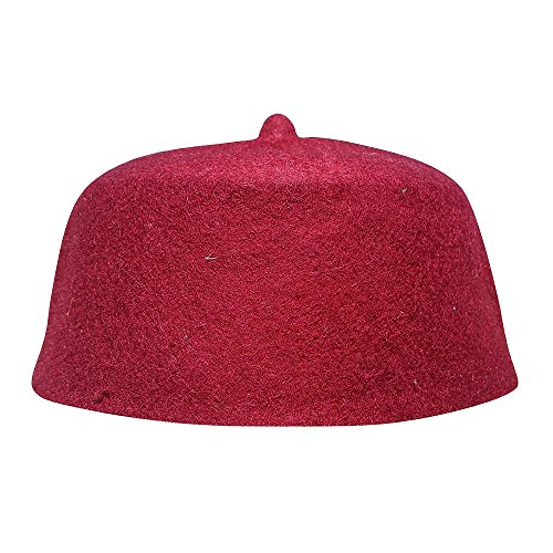 (TheKufi Maroon Wool Felt Hand-Made Moroccan Fez-Style Kufi with Tip (L -23in))