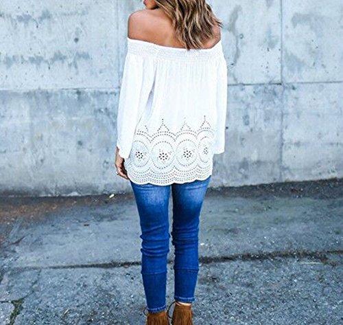 Bateau Chemises Blouse t Col Shirt Mode JackenLOVE Longues Hauts Femme T Blanc Unie Dentelle pissure Manches Sexy Couleur Tops 6q5xCPw